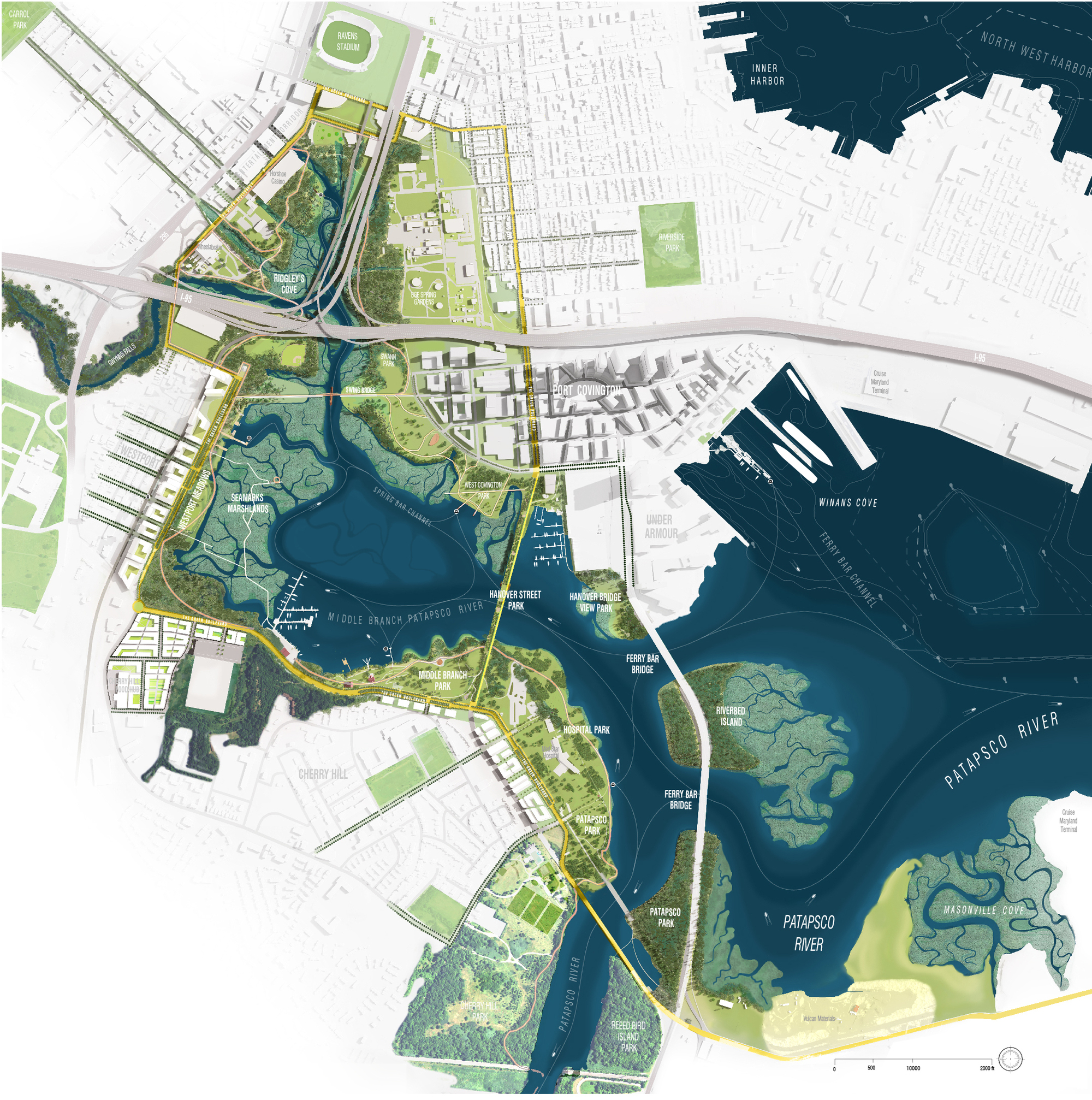 A diagram of Baltimore's swampy waterfront