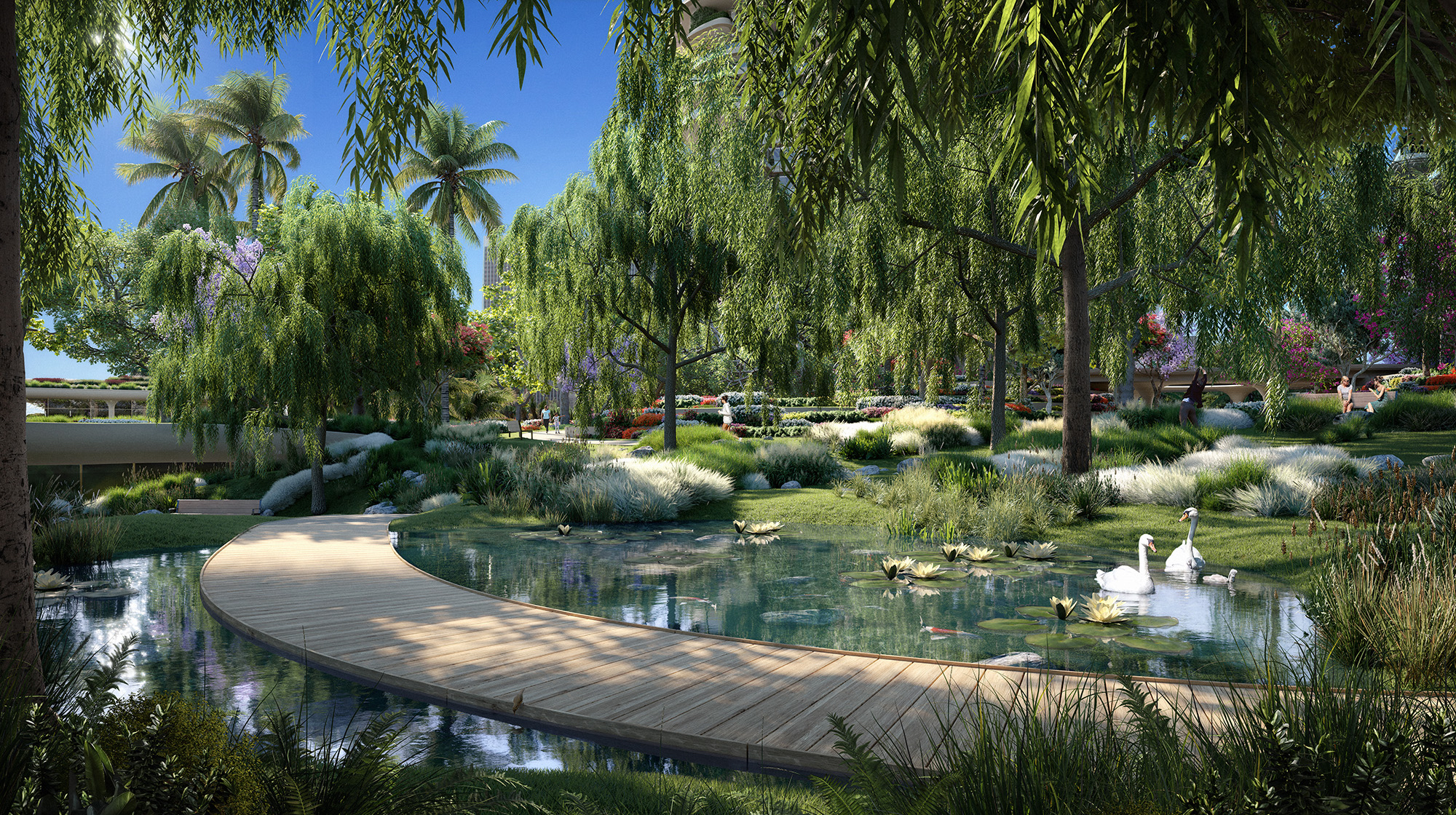 Illustration of gardens at One Beverly Hills complex