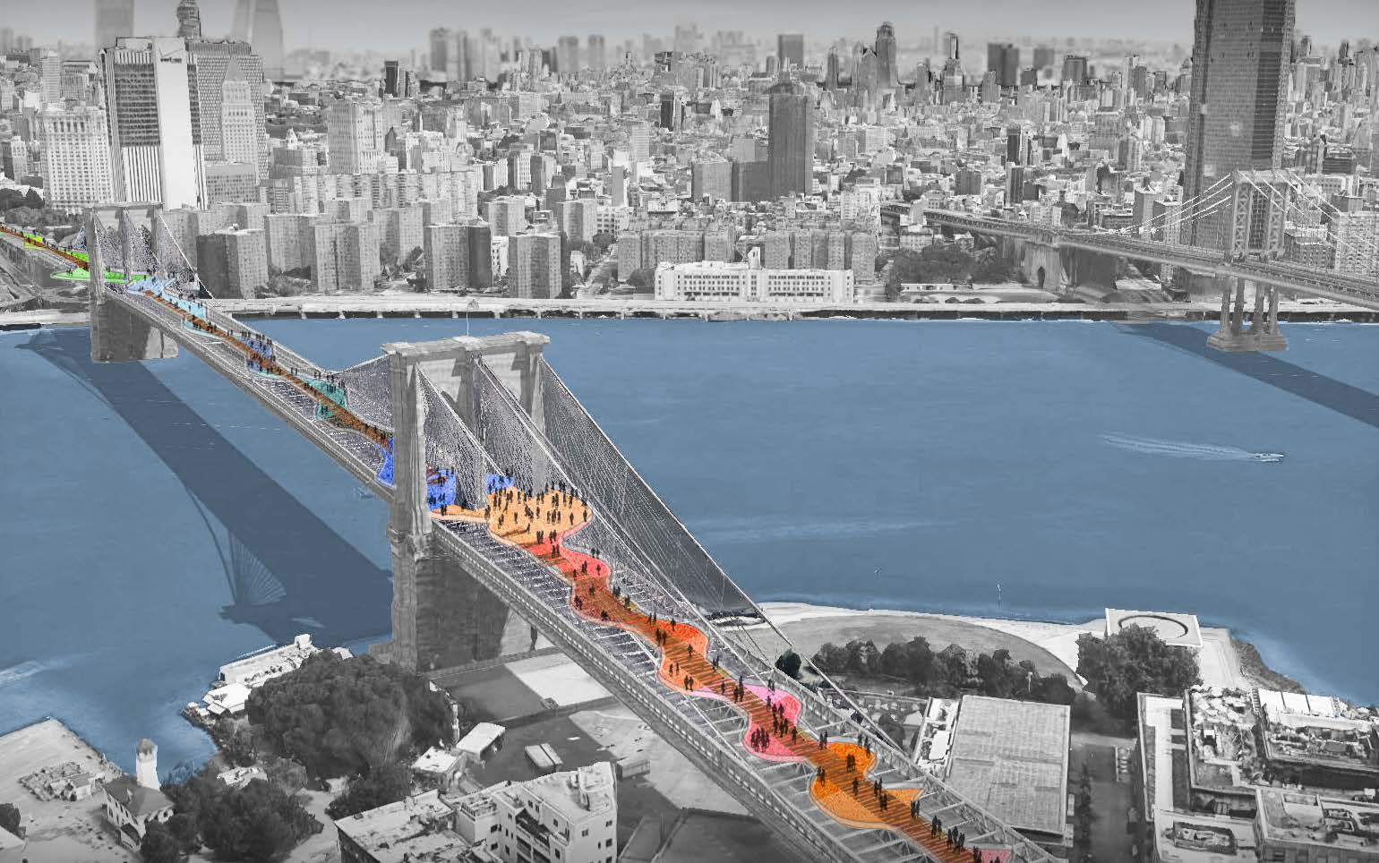rendering of a design proposal for Brooklyn Bridge