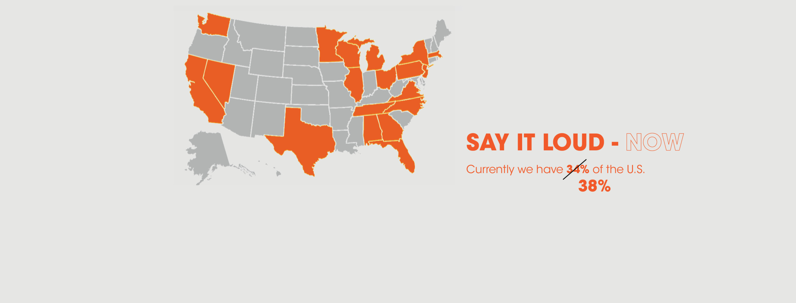 A map of the US with 19 states in orange