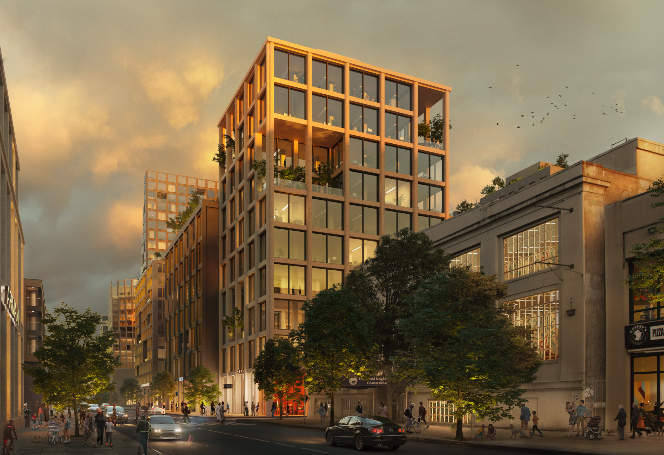 Rendering of a boxy glass building with plaza gaps