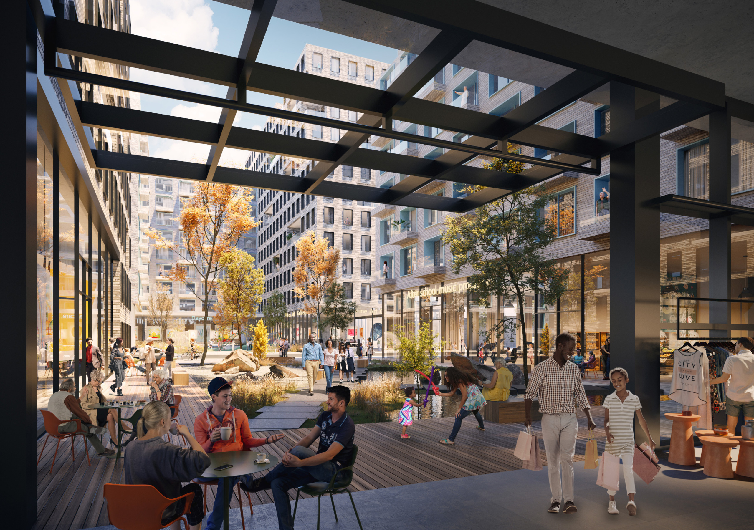 Rendering of a plaza with outdoor retail