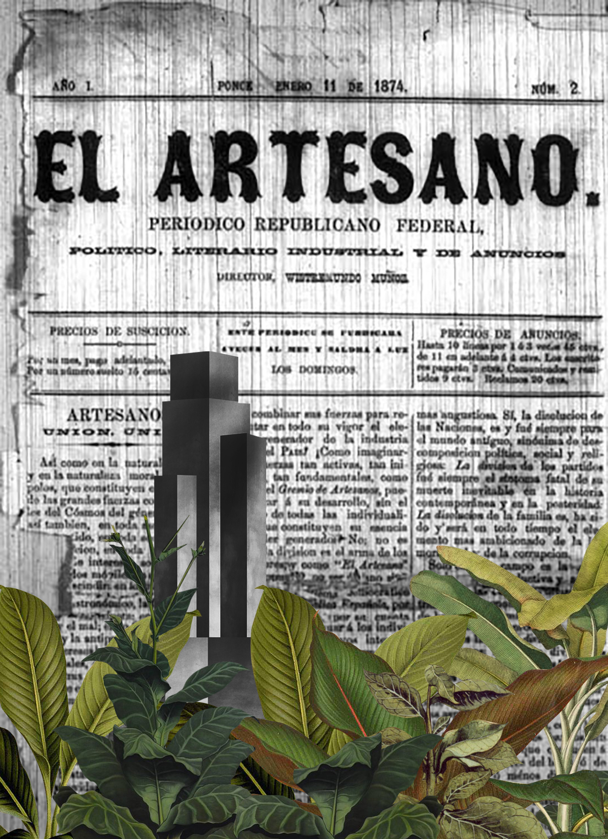collage of radical architecture over a Cuban newspaper