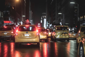 Taxis in Manhattan, something that would be alleviated by congestion pricing