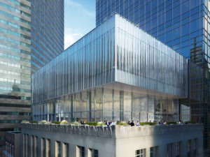 Rendering of a textured glass volume above a limestone-clad building in New York atop the Tiffany headquarters