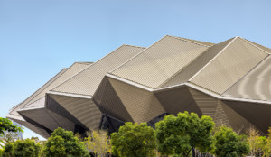 Photo of faceted aluminum facade that makes up the Taipei Music Center