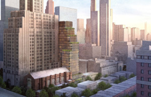 A rendering of the new Brooklyn Music School tower, a 24-story building with vertical striations