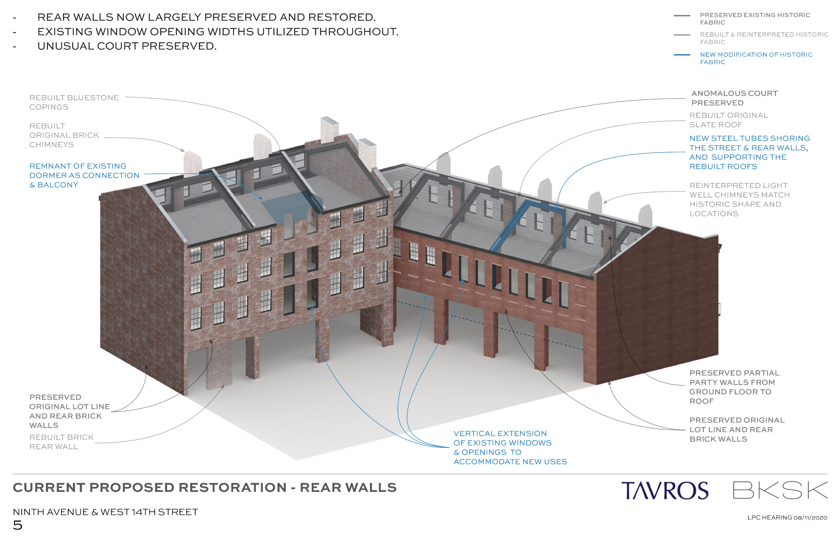 A diagram detailing rear wall restorations in a section of townhouses