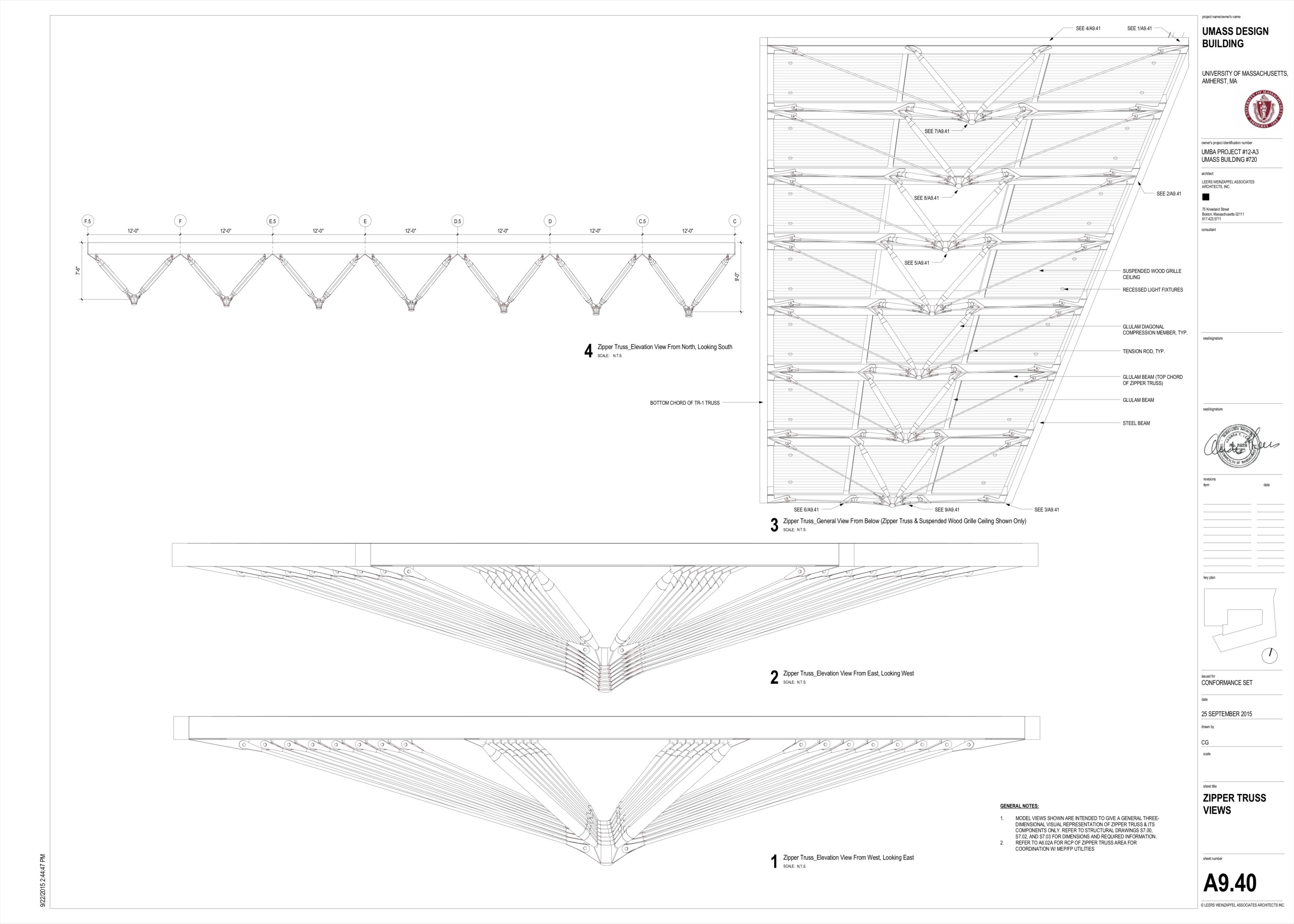 Detailed diagram of the project's zipper truss system found at the atrium