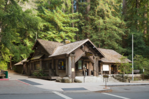 The Headquarters Administration Building, a redwood log cabin in Big Basin