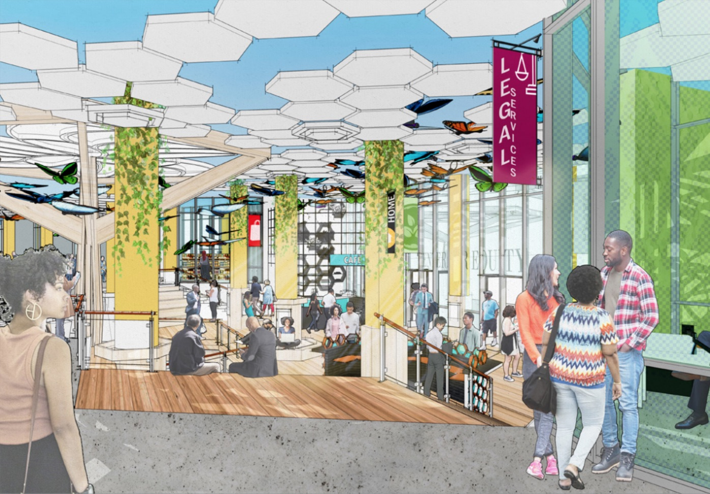 illustration of a mixed-use lobby space