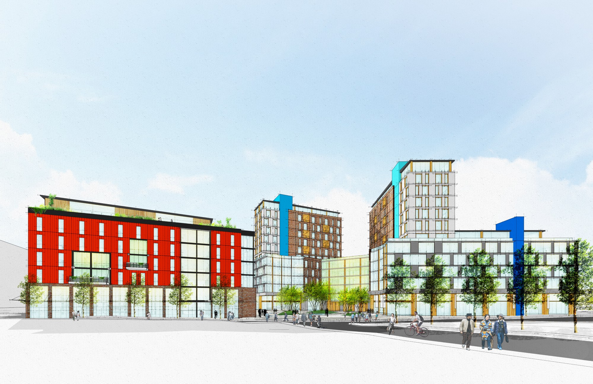 design rendering of three new buildings
