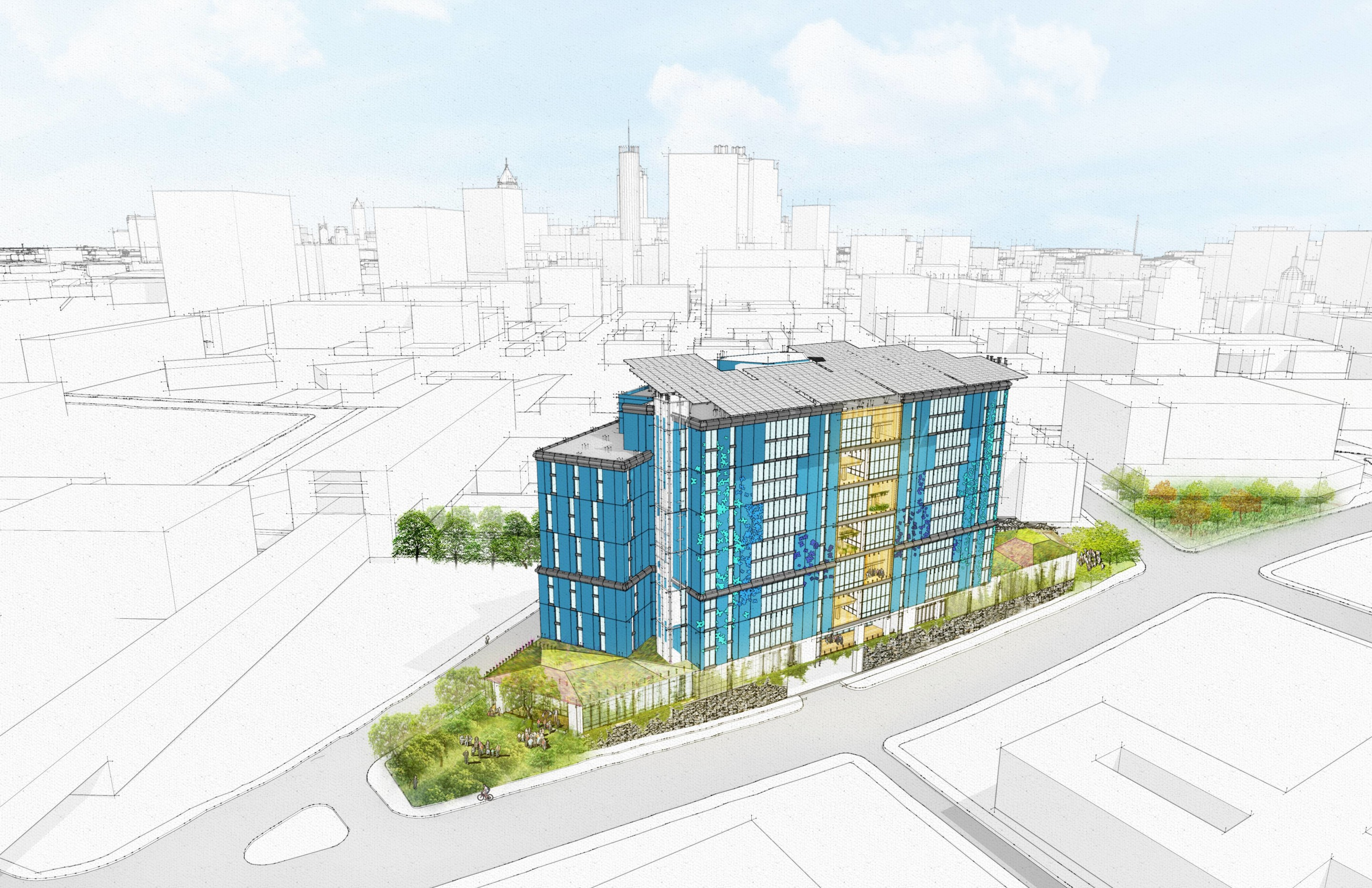 illustration of a blue mid-rise building surrounded by parks