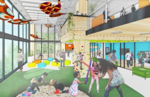 design rendering of a colorful space with adults and children playing