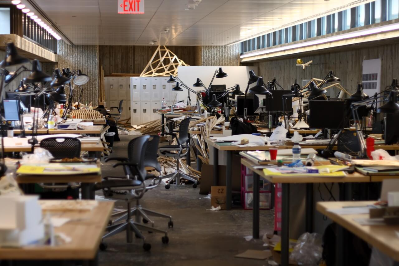 Photo of desks at the Yale School of Architecture