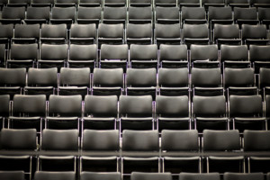 empty seats in a lecture hall; this year fall lectures will be held online