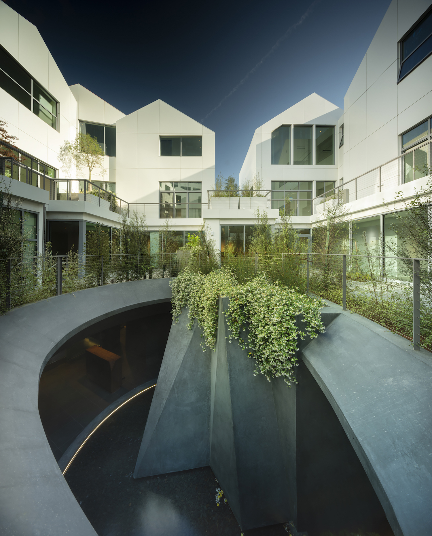 building and plants surrounding a courtyard with a concrete stairwell