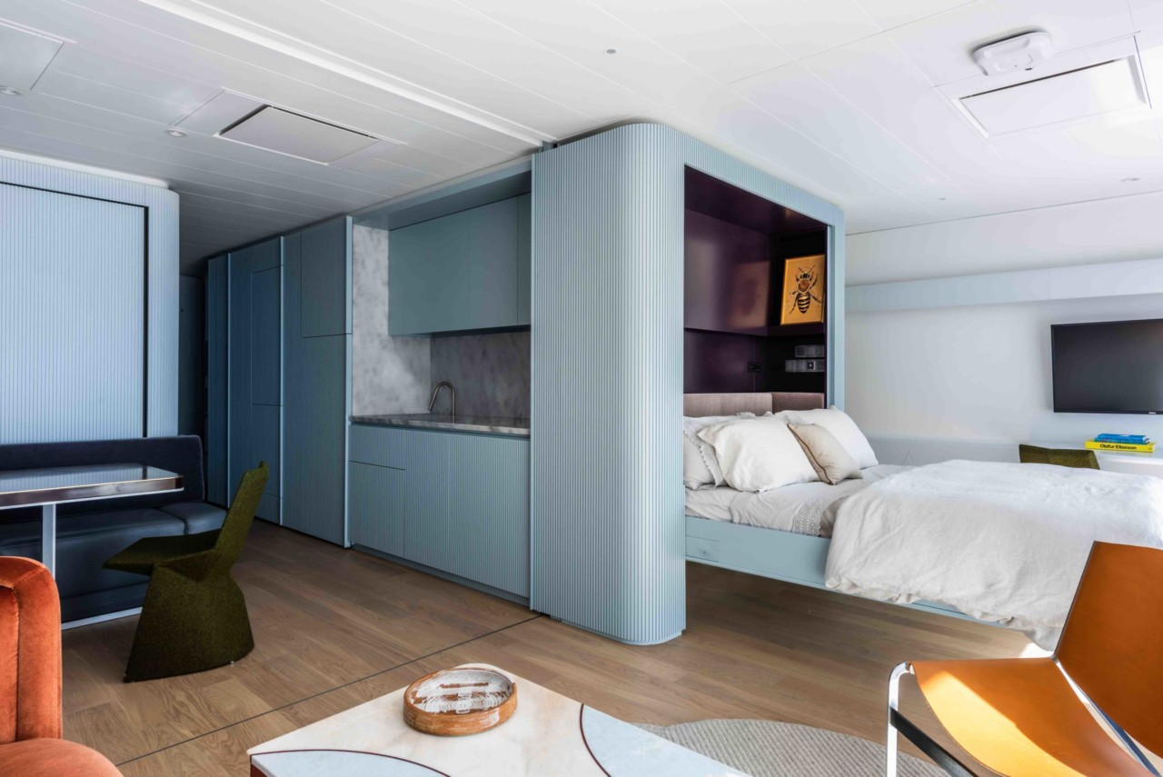Interior of a yacht bedroom