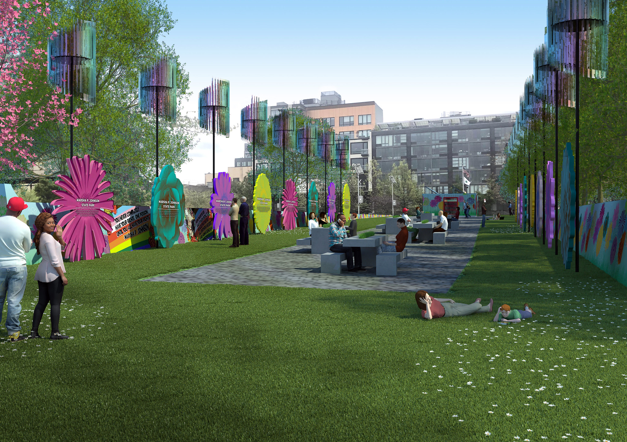 illustration of a colorful state park in nyc