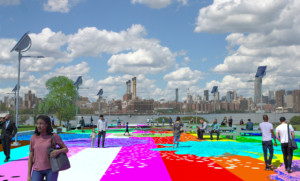 illustration of a colorful riverside park, now renamed after Marsha P. Johnson
