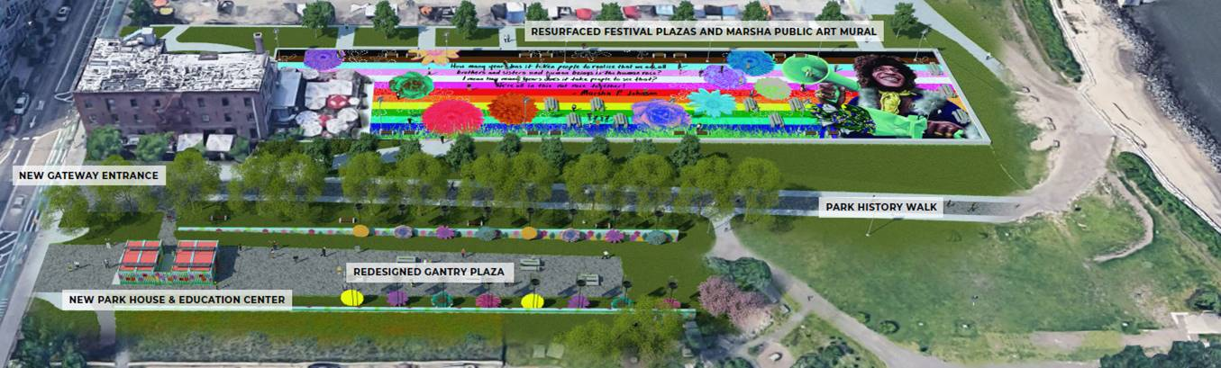 aerial view of planned upgrades at a nyc park