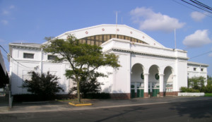 a white stucco building at Michigan State Fairgrounds