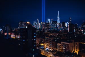 a photo of the tribute in light against the manhattan skyline