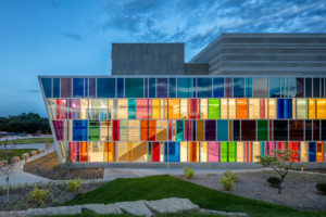 colorful glass wall at Omaha VA Ambulatory Care Center