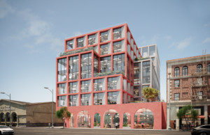 Rendering of 1235 Vine Street, a boxy tower with colonnade out front
