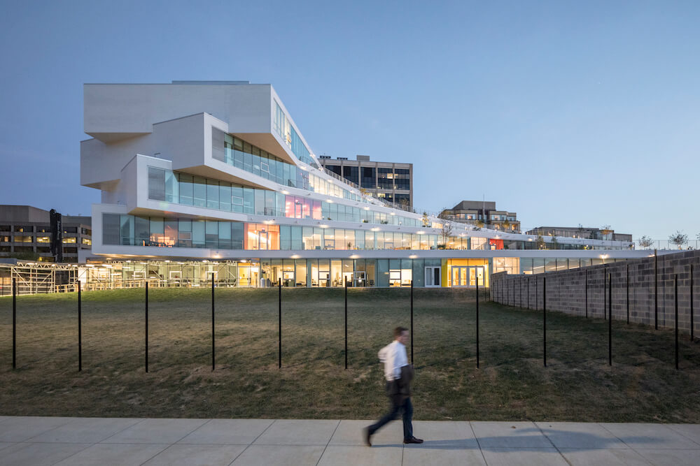 Photo of The Heights in Arlington, Virginia uses a YKK curtainwall system