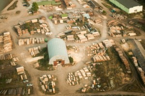Aerial photo of a lumber yard, where lumber prices are truly set