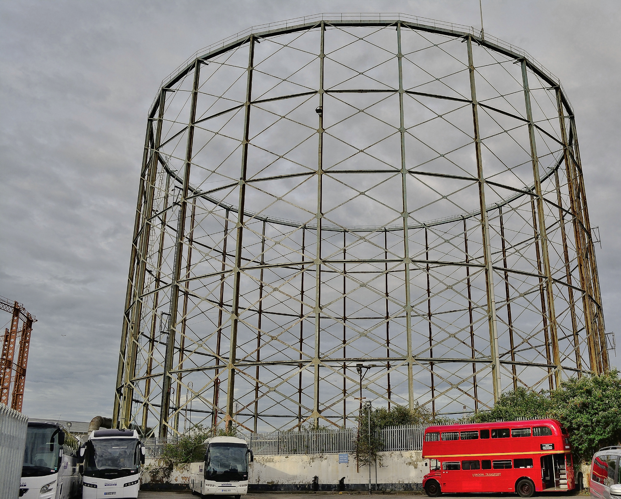 photo of a skeleton of a gasholder in london