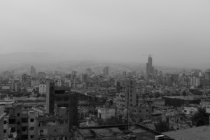 The Beirut skyline in black and white