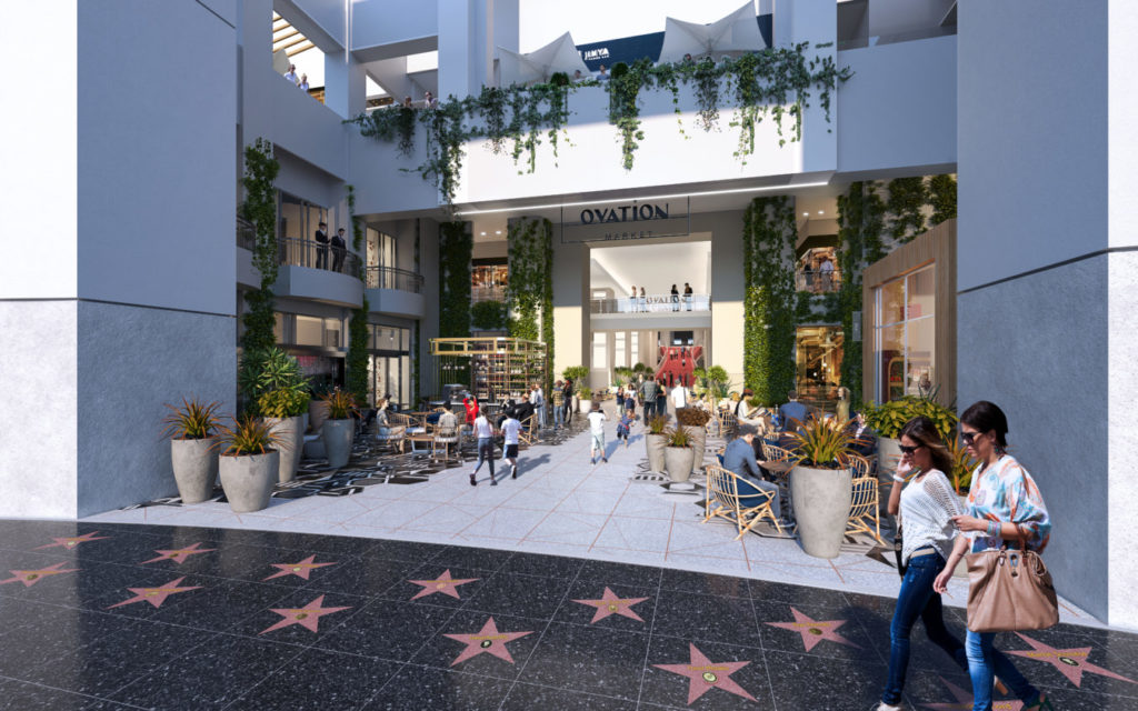 Rendering of Ovation Hollywood and Hollywood Walk of Fame