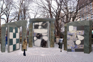 Rendering of large stone mosaics in Central Park
