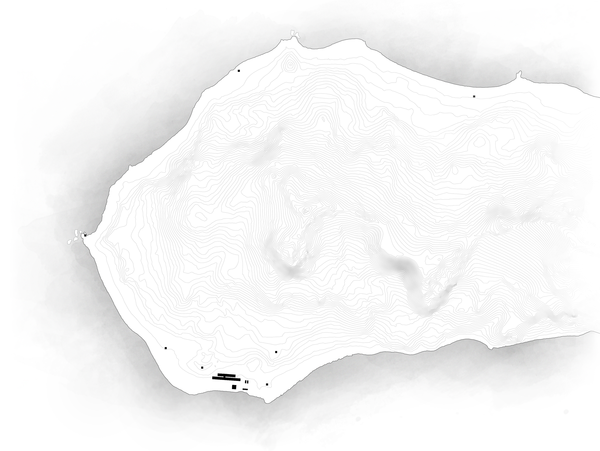 Topographic map of the Keller Peninsula, highlighting scale of the station