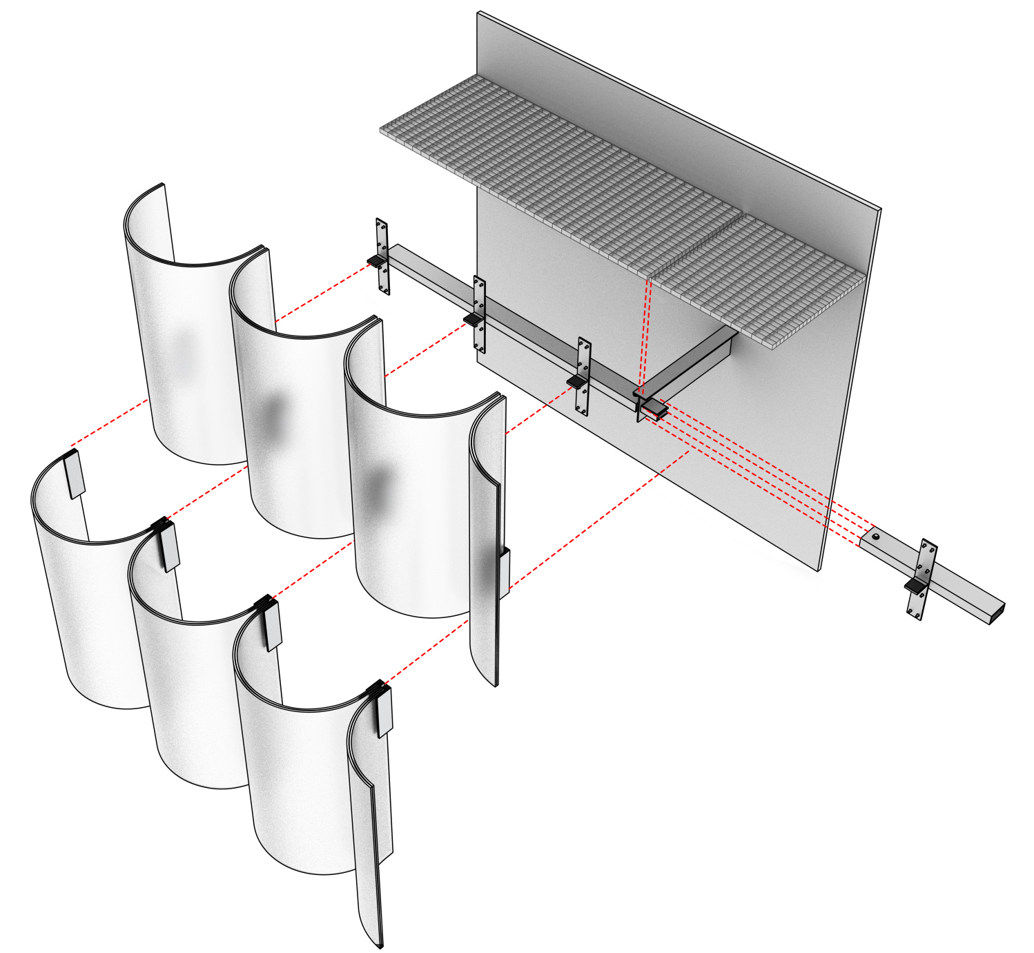 Diagram of the facade system, and how the glass tubes are held to the primary structure
