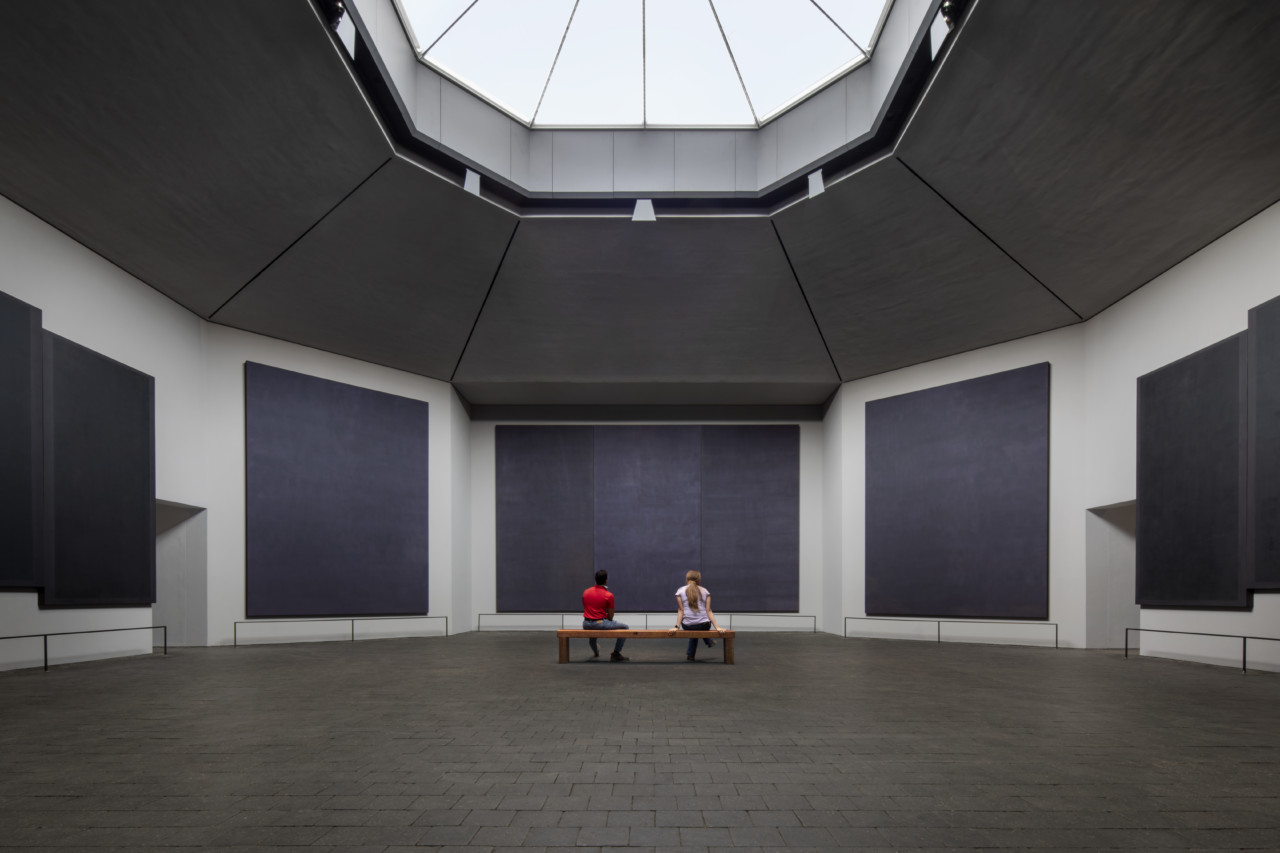 Inside the renovated Rothko Chapel, with an octagonal skylight