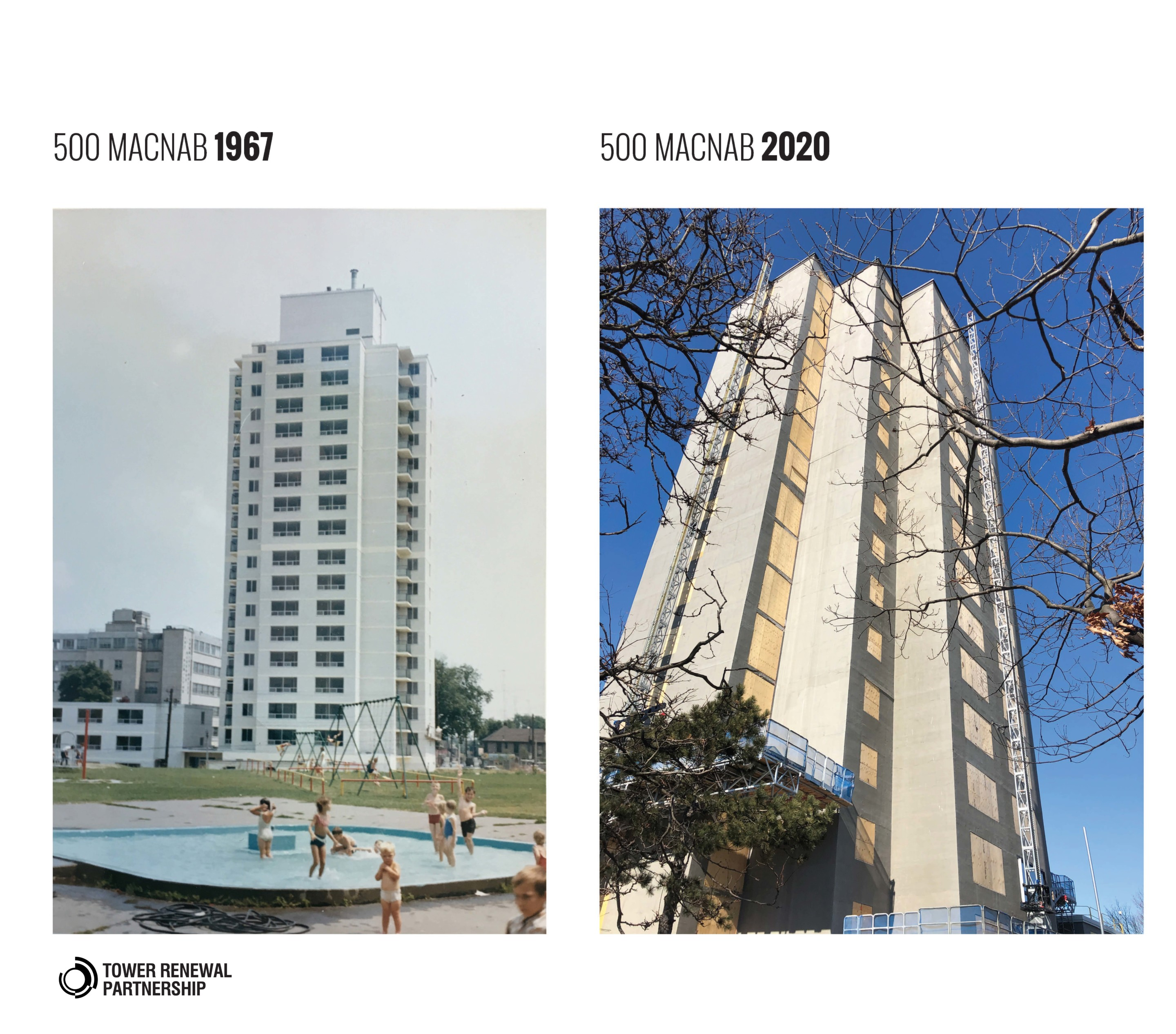 A two-part diagram showing a historic tower image and a renovated tower