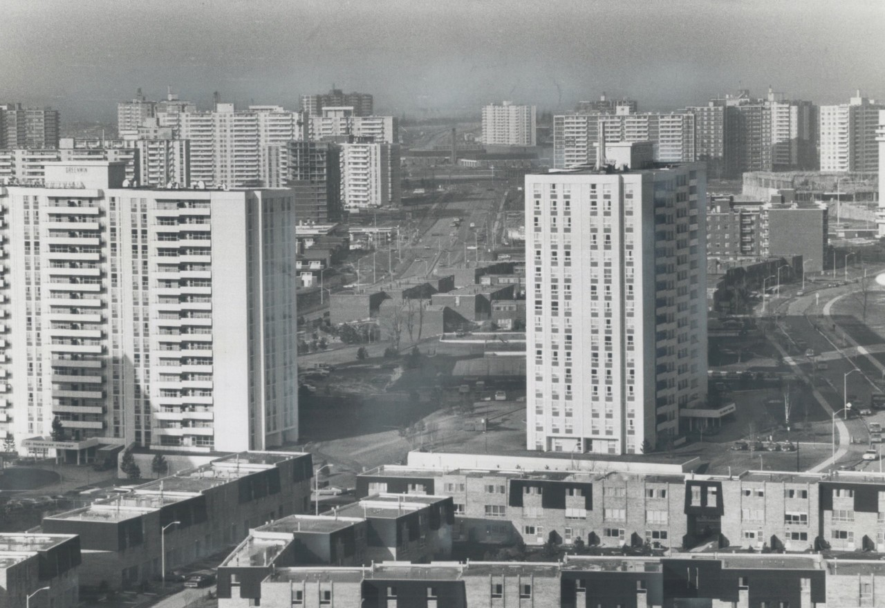 An ontario public housing development in black and white, part of the tower Renewal Partnership