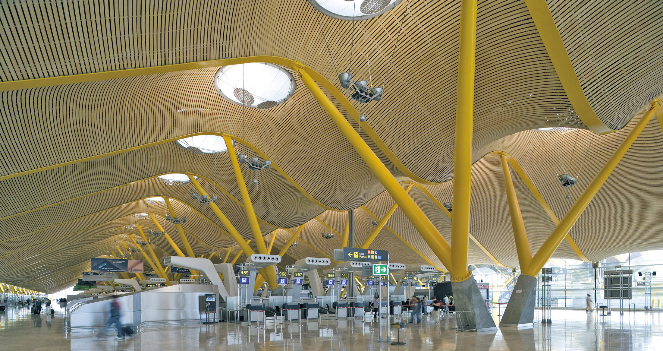 Interior of an undulating airport