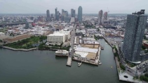 Aerial view of the long island city waterfront