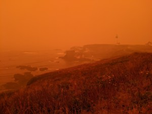 Orange skies from western wildfires have smothered construction sites