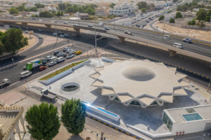 The flying saucer, a round concrete structure shaped like a star
