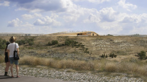 Rendering of the future Theodore Roosevelt Presidential Library emerging from the landscape