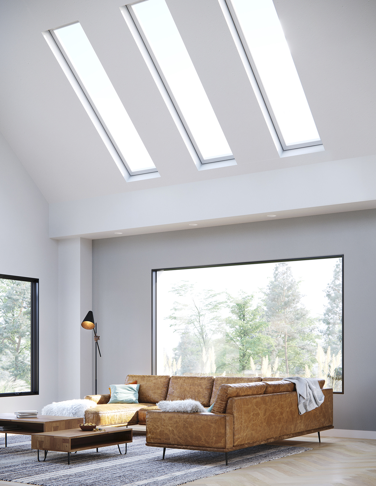 A skylight atop a white living room, a best of design awards winner