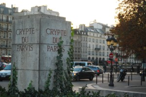 entrance to crypt museum in paris