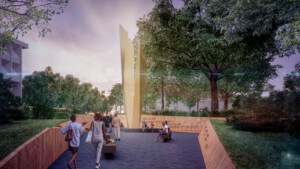 The freedom garden, rendering of people walking through a park and seeing a monument