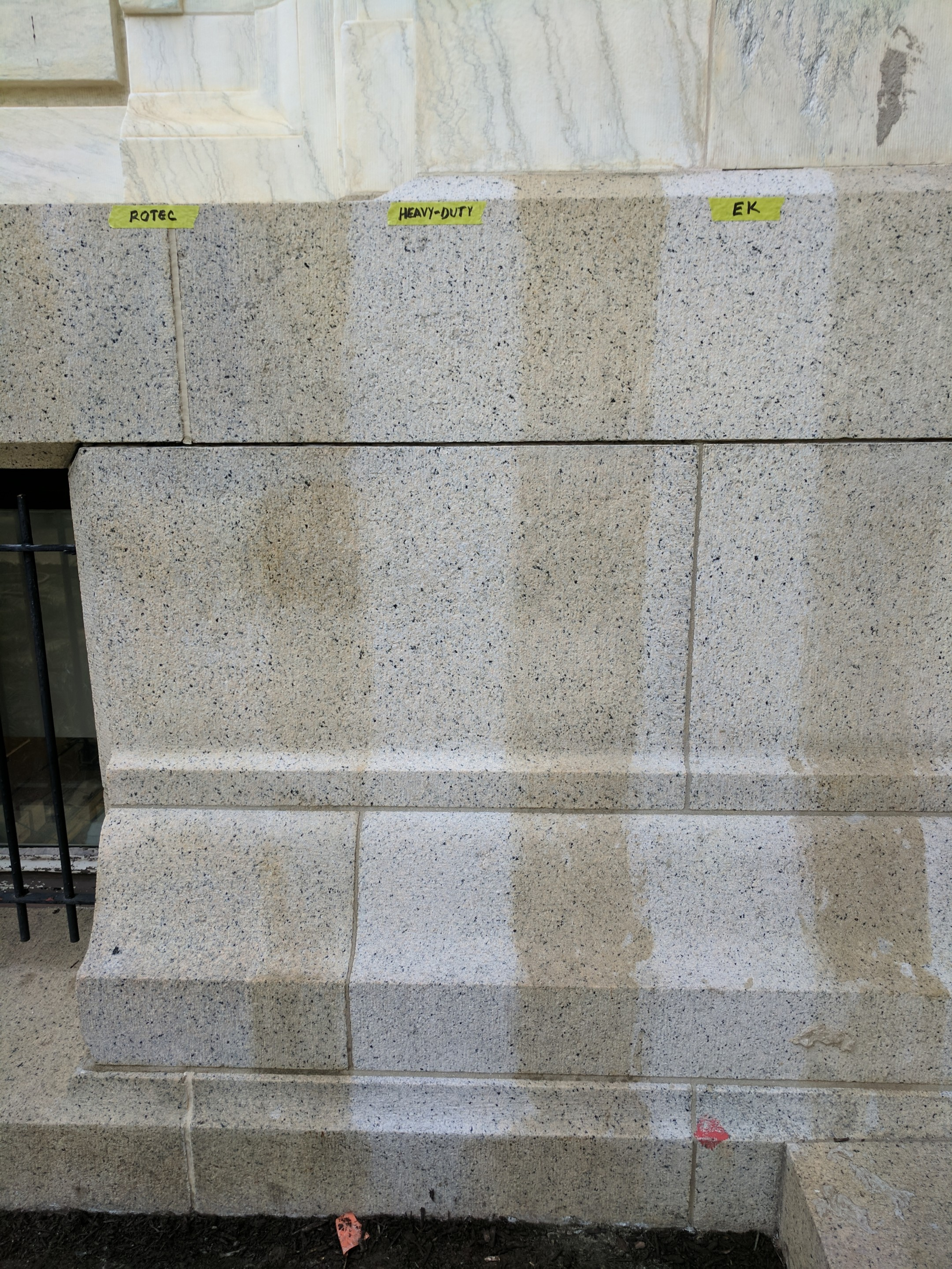 Image of cleaning tests on the masonry