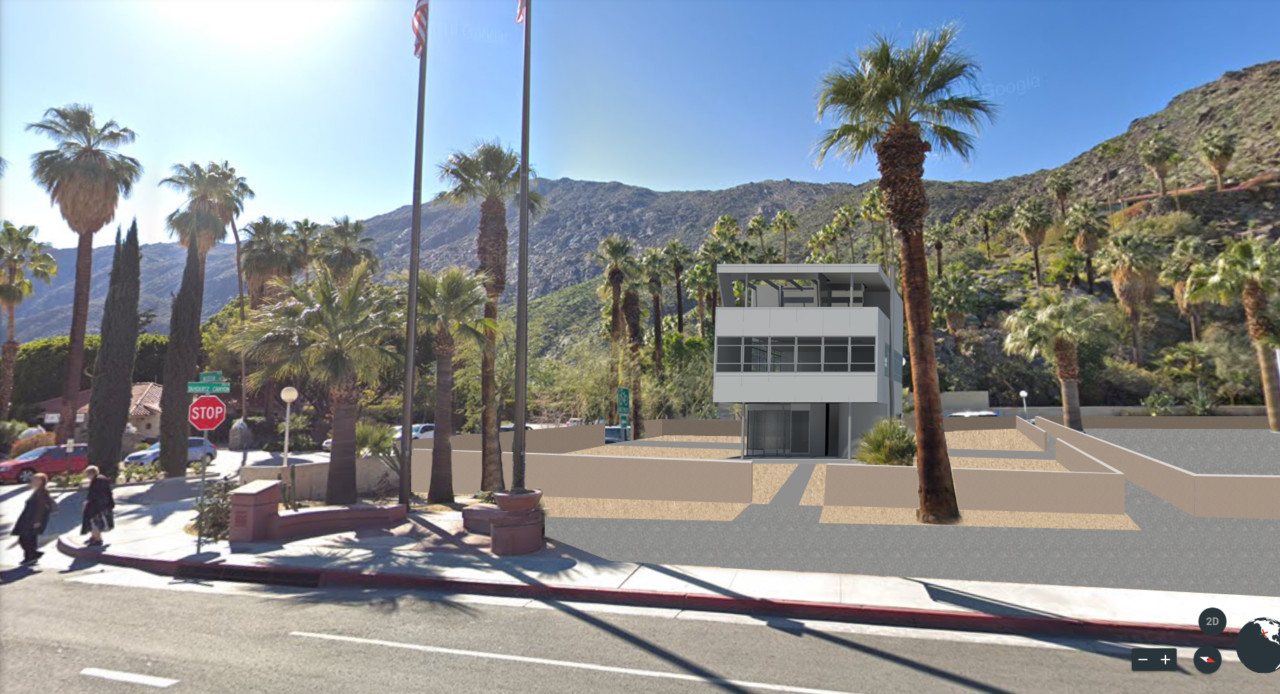 Rendering of a modernist house in Palm Springs